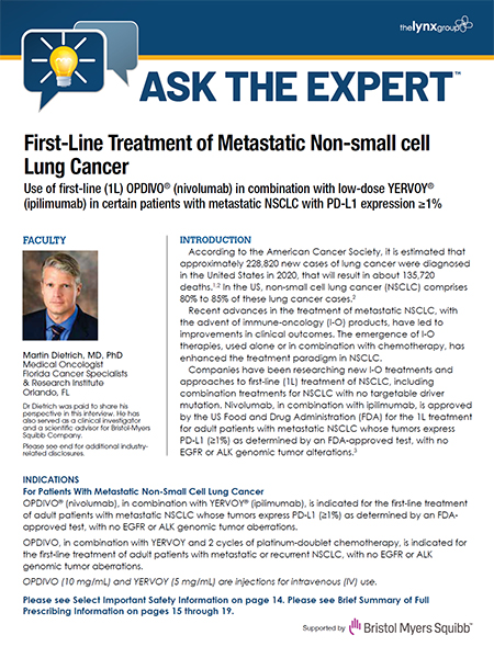 ASK THE EXPERT: First-Line Treatment of Metastatic Non-small cell Lung Cancer